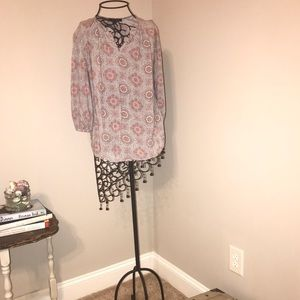 Grey and pink medallion Anne Carson blouse